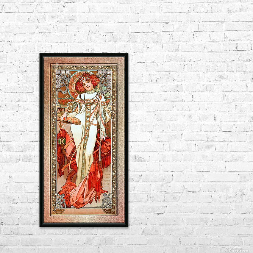 LAutomne by Alphonse Mucha Old Masters Reproduction HD Sublimation Metal print with Decorating Float Frame (BOX)