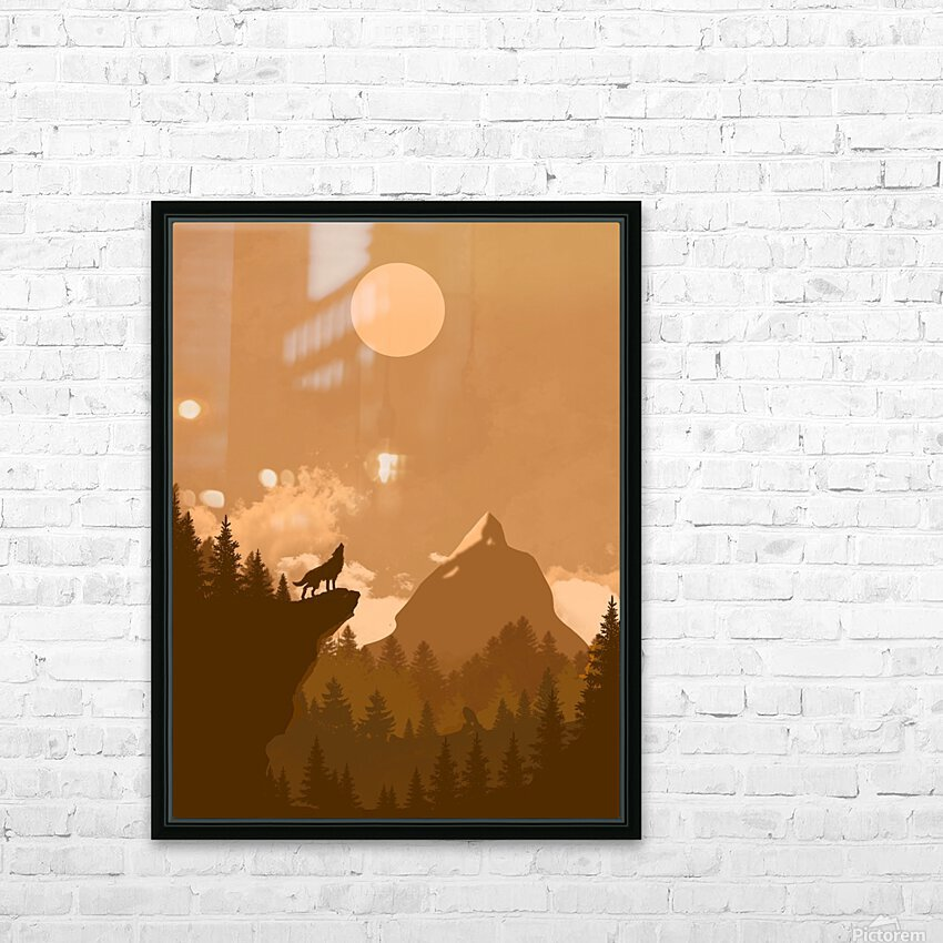 Mountain Wolf Day HD Sublimation Metal print with Decorating Float Frame (BOX)