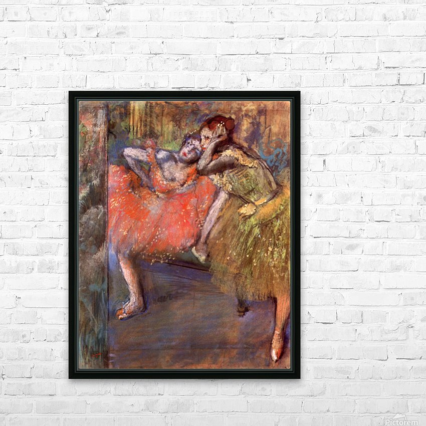 Two dancers behind the scenes by Degas HD Sublimation Metal print with Decorating Float Frame (BOX)