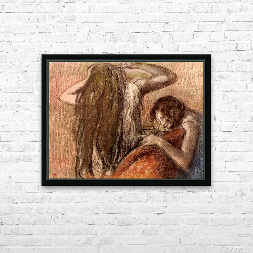Two girls by Degas HD Sublimation Metal print with Decorating Float Frame (BOX)