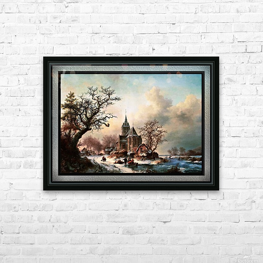 Winter Landscape with Activities by a Village by Frederik Marinus Kruseman Old Masters Classical Fine Art Reproduction HD Sublimation Metal print with Decorating Float Frame (BOX)
