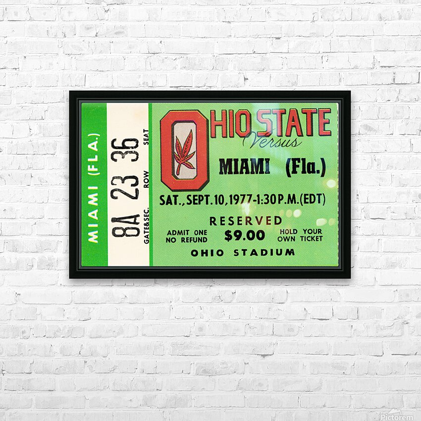 1977 Miami Hurricanes vs. Ohio State Football Ticket Canvas HD Sublimation Metal print with Decorating Float Frame (BOX)