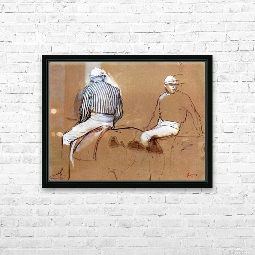 Two jockeys by Degas HD Sublimation Metal print with Decorating Float Frame (BOX)