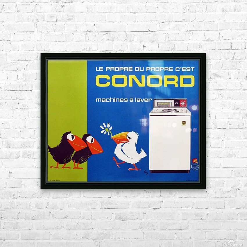 Original Appliance Poster, Conord Birds, 1960 HD Sublimation Metal print with Decorating Float Frame (BOX)