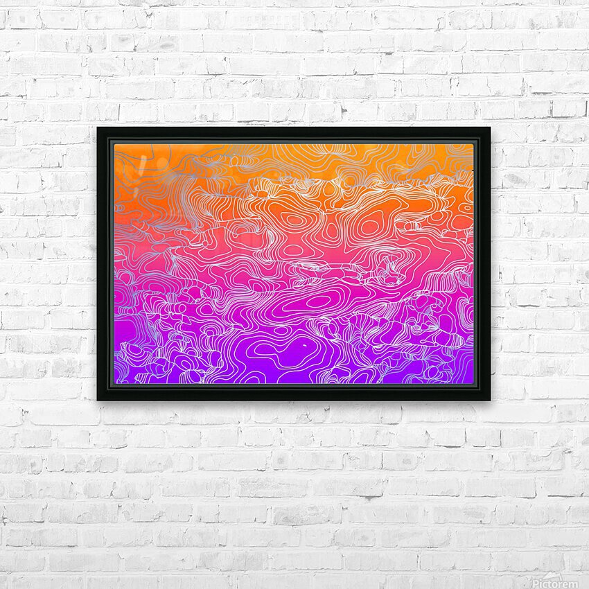 geometric fractal line abstract background in purple orange HD Sublimation Metal print with Decorating Float Frame (BOX)