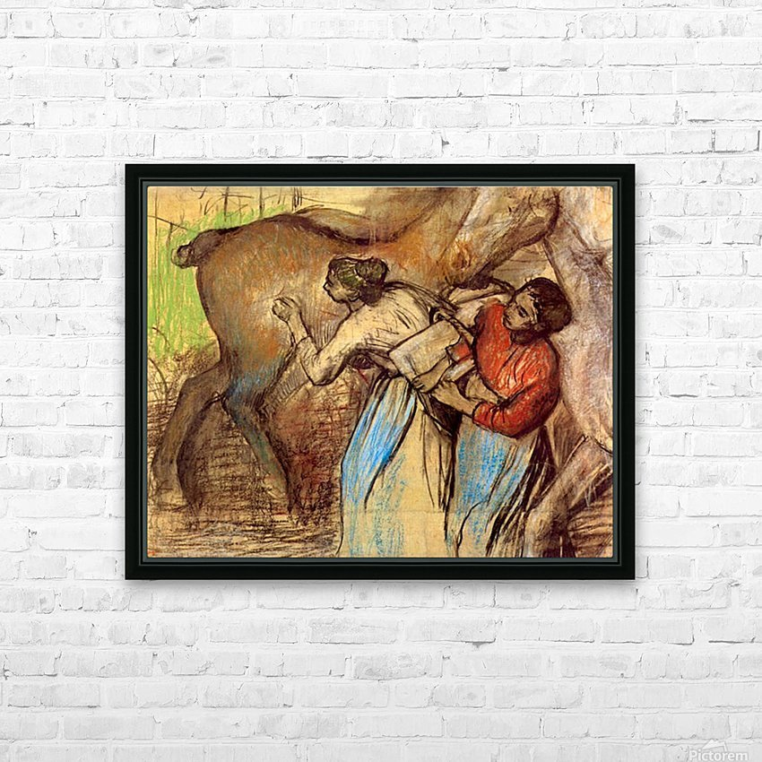 Two women washing horses by Degas HD Sublimation Metal print with Decorating Float Frame (BOX)