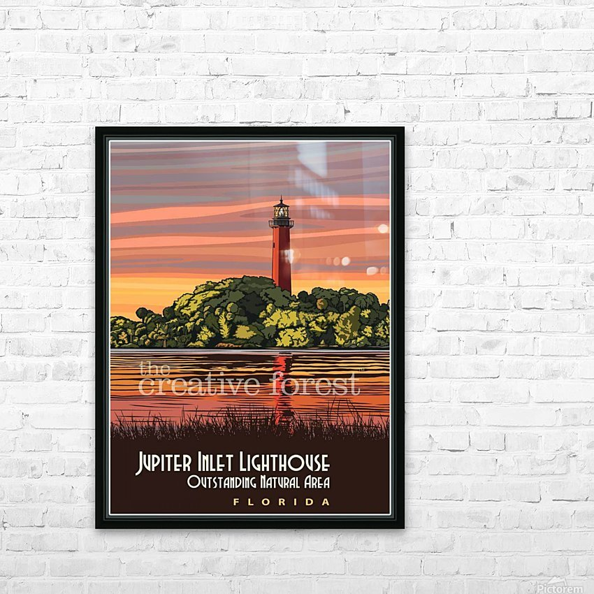 Jupiter Inlet Lighthouse, Vintage Florida Travel Reproduction HD Sublimation Metal print with Decorating Float Frame (BOX)