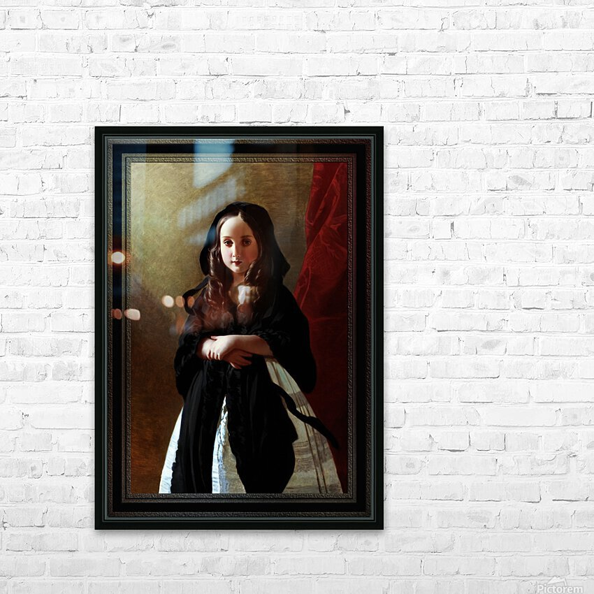 Portrait of Princess Charlotte of Belgium by Franz Xaver Winterhalter Classical Fine Art Old Masters Reproduction HD Sublimation Metal print with Decorating Float Frame (BOX)