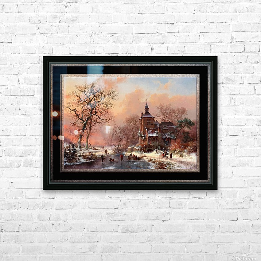 Winter Landscape with Skaters on a Frozen River by Frederik Marinus Kruseman Fine Art Old Masters Reproduction HD Sublimation Metal print with Decorating Float Frame (BOX)