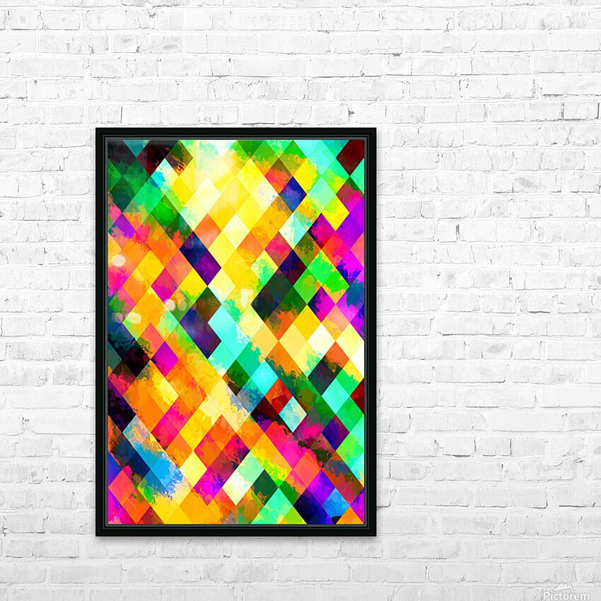 geometric square pixel pattern abstract background in yellow blue green pink orange HD Sublimation Metal print with Decorating Float Frame (BOX)
