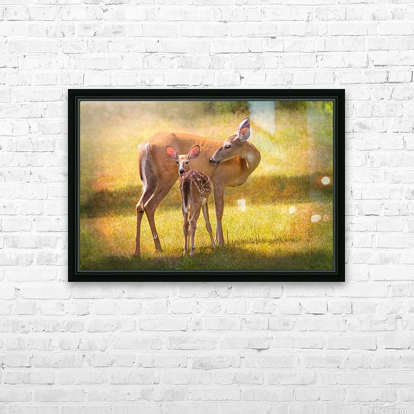 Doe with fawn looking back HD Sublimation Metal print with Decorating Float Frame (BOX)