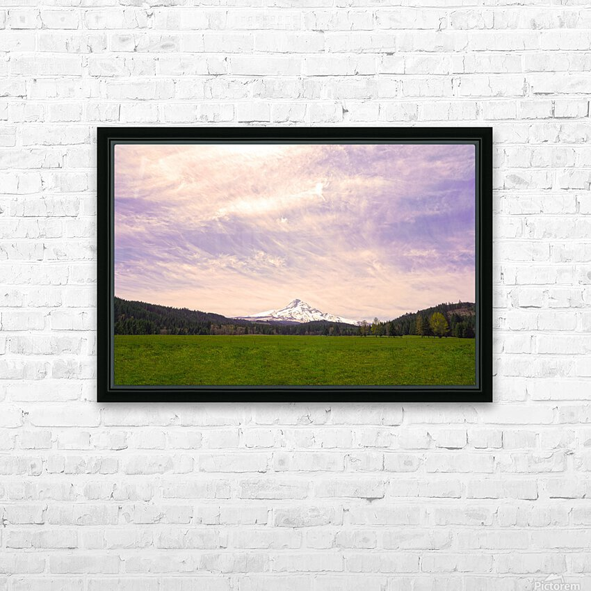 Mount Hood Bathed in Golden Rays at Sunset HD Sublimation Metal print with Decorating Float Frame (BOX)