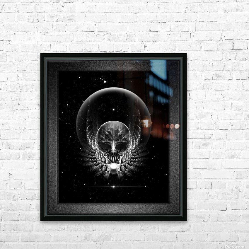 Gothic Wing Feitan Skull Fractal Art Composition HD Sublimation Metal print with Decorating Float Frame (BOX)