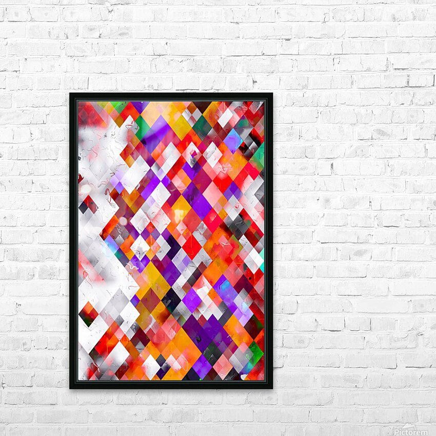 colorful geometric square pixel pattern abstract art in orange red purple HD Sublimation Metal print with Decorating Float Frame (BOX)