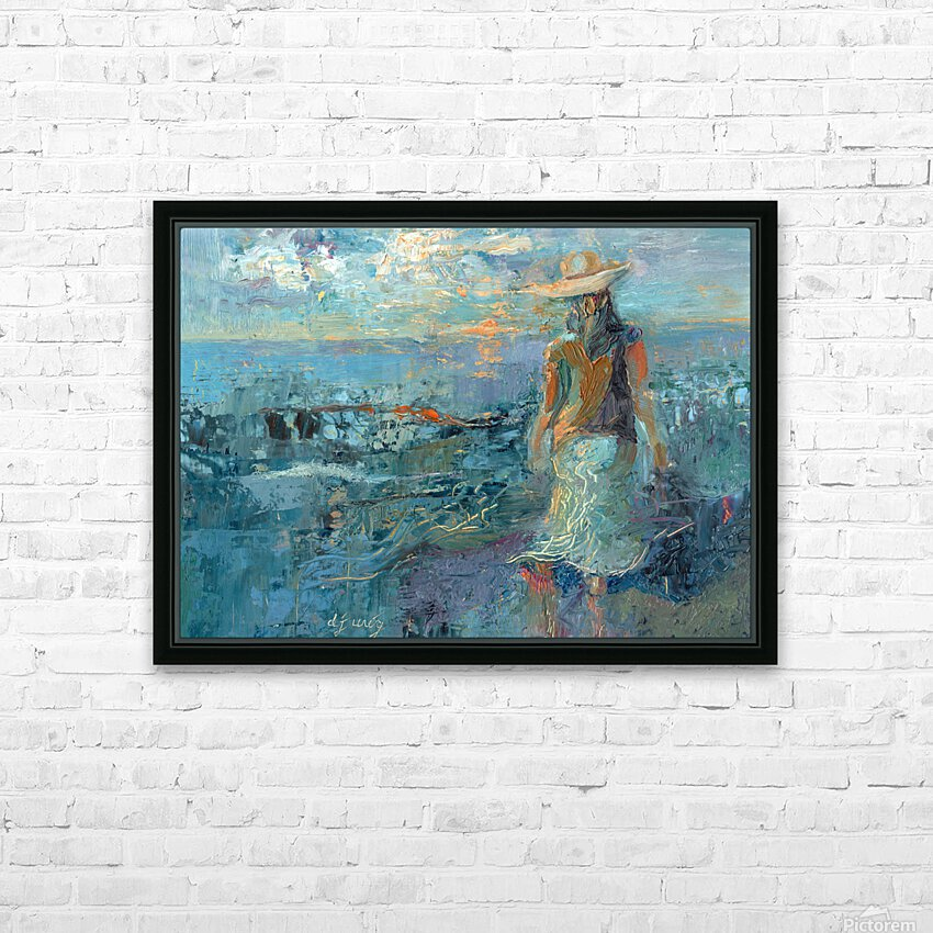Woman on a Twilight Beach HD Sublimation Metal print with Decorating Float Frame (BOX)