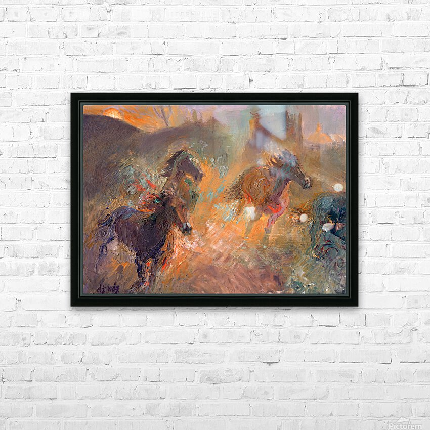 Wild Horses Sun Dust HD Sublimation Metal print with Decorating Float Frame (BOX)