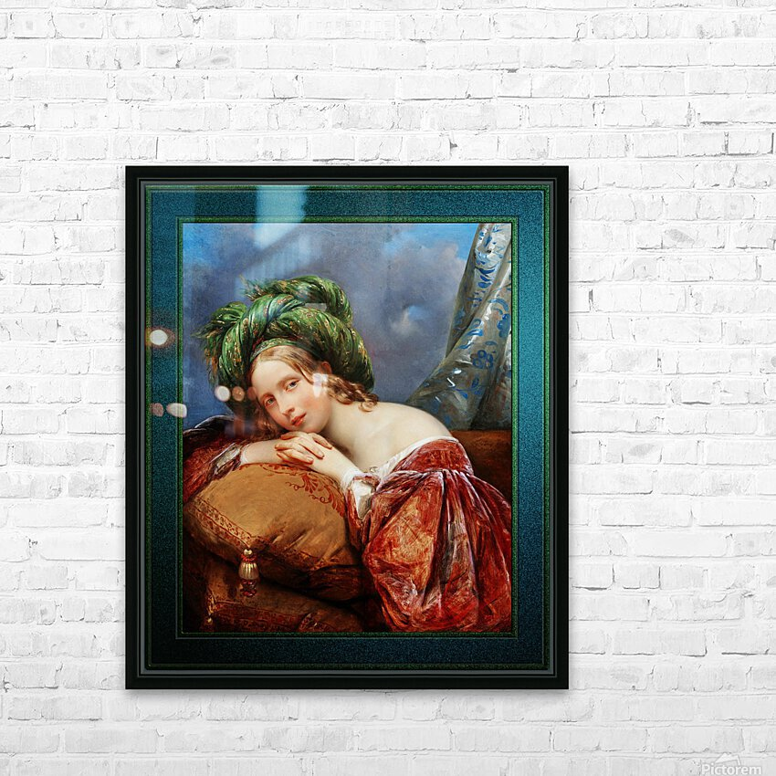 Dame Mit Grunem Turban by Aimee Pages-Brune Classical Fine Art Xzendor7 Old Masters Reproductions HD Sublimation Metal print with Decorating Float Frame (BOX)