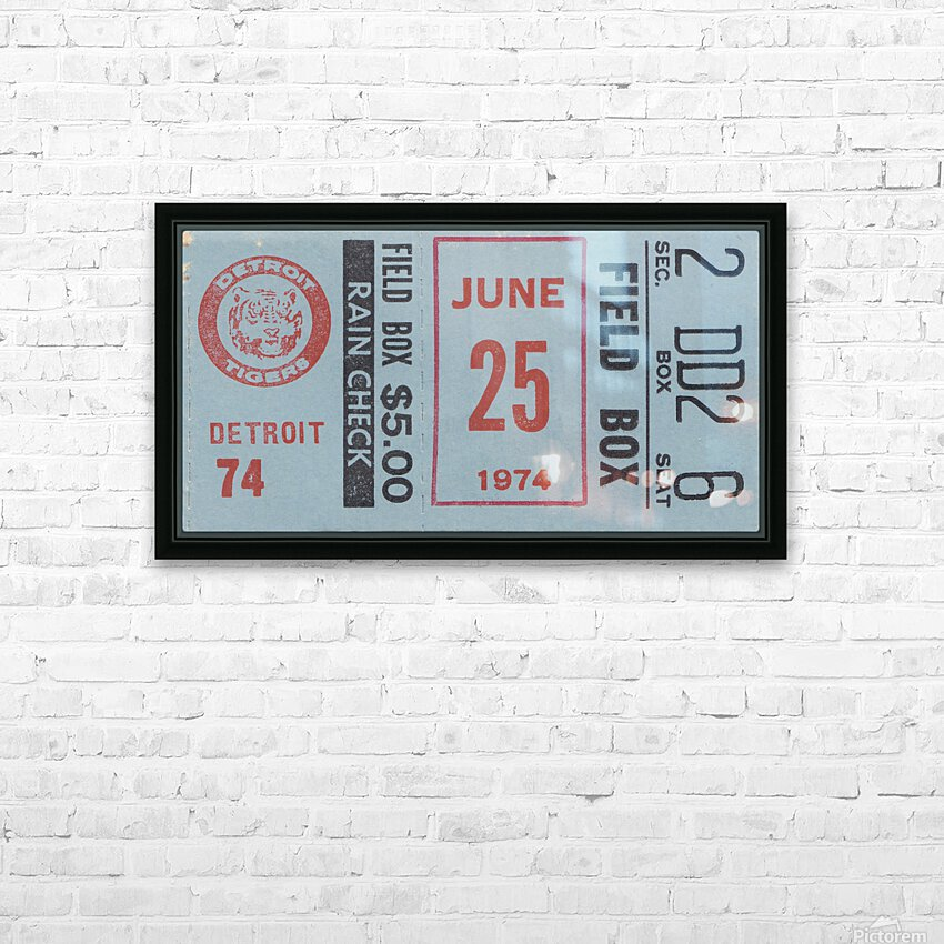 1974 Detroit Tigers Field Box Ticket HD Sublimation Metal print with Decorating Float Frame (BOX)