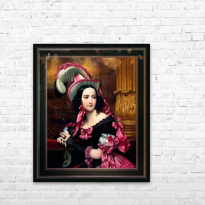 The Venetian At The Mask Ball by Joseph-Desire Court Classical Fine Art Xzendor7 Old Masters Reproductions HD Sublimation Metal print with Decorating Float Frame (BOX)