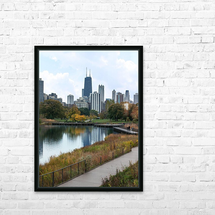 Hancock Over Lincoln Park HD Sublimation Metal print with Decorating Float Frame (BOX)