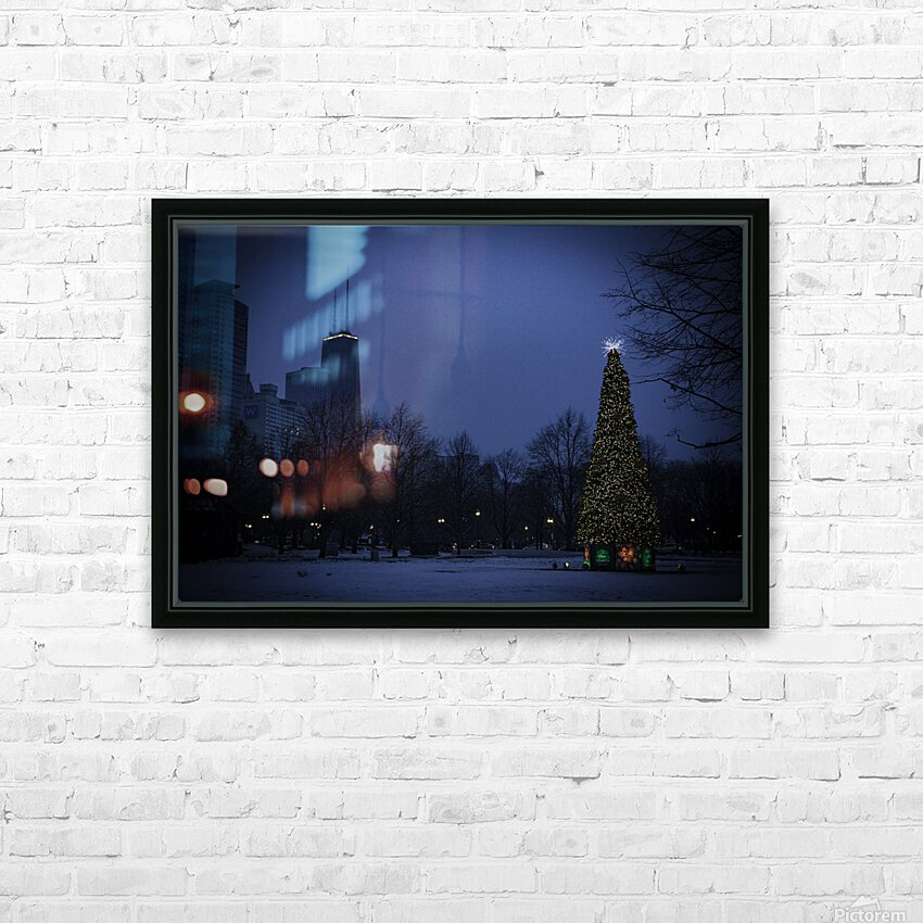 Chicago Christmas HD Sublimation Metal print with Decorating Float Frame (BOX)