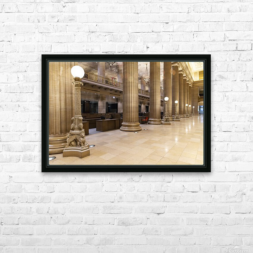 Bank Columns HD Sublimation Metal print with Decorating Float Frame (BOX)