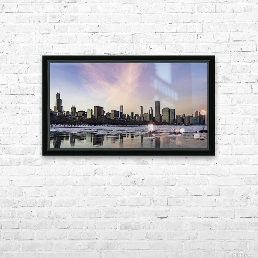 Chicago Skyline at Dusk HD Sublimation Metal print with Decorating Float Frame (BOX)