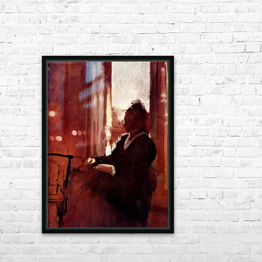 Woman at the window by Degas HD Sublimation Metal print with Decorating Float Frame (BOX)