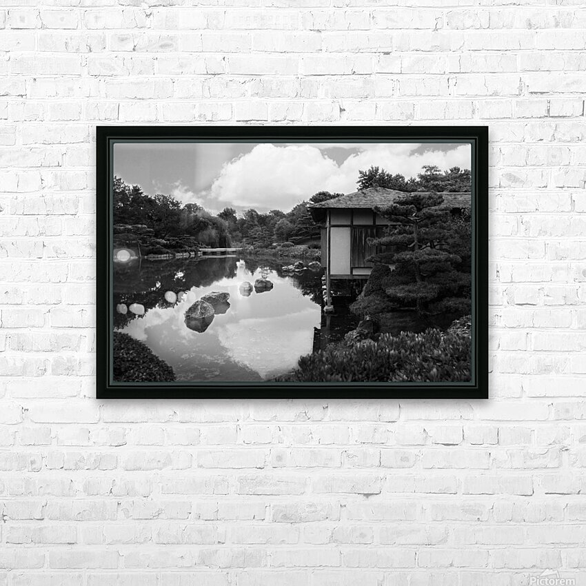 Black White Pond HD Sublimation Metal print with Decorating Float Frame (BOX)