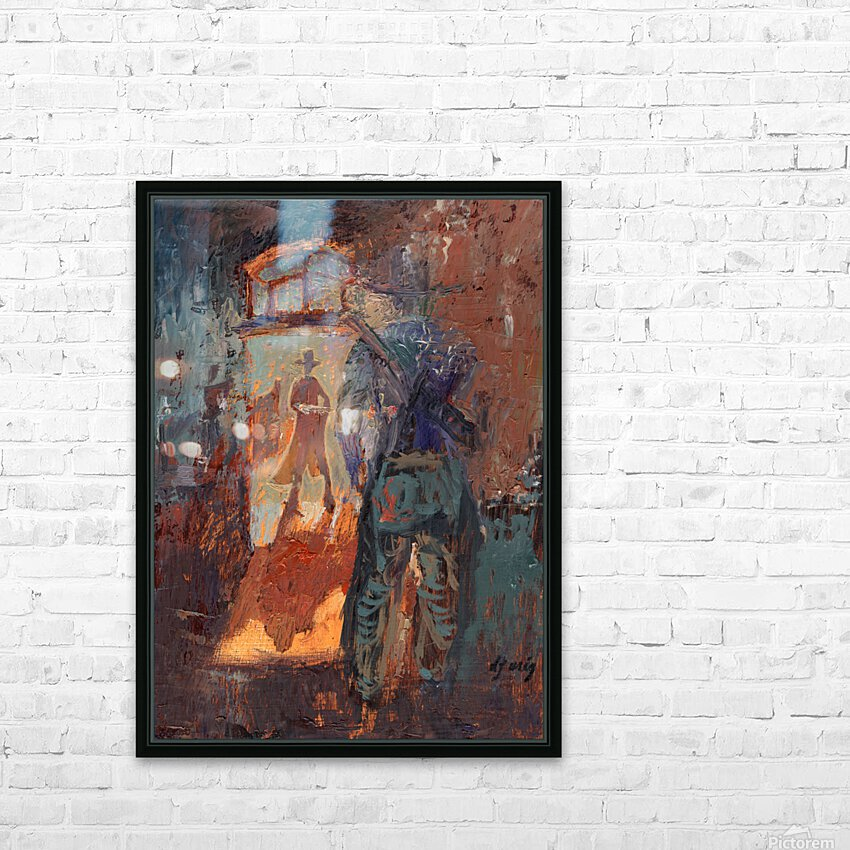 Gunfight at Doc Holidays Saloon HD Sublimation Metal print with Decorating Float Frame (BOX)