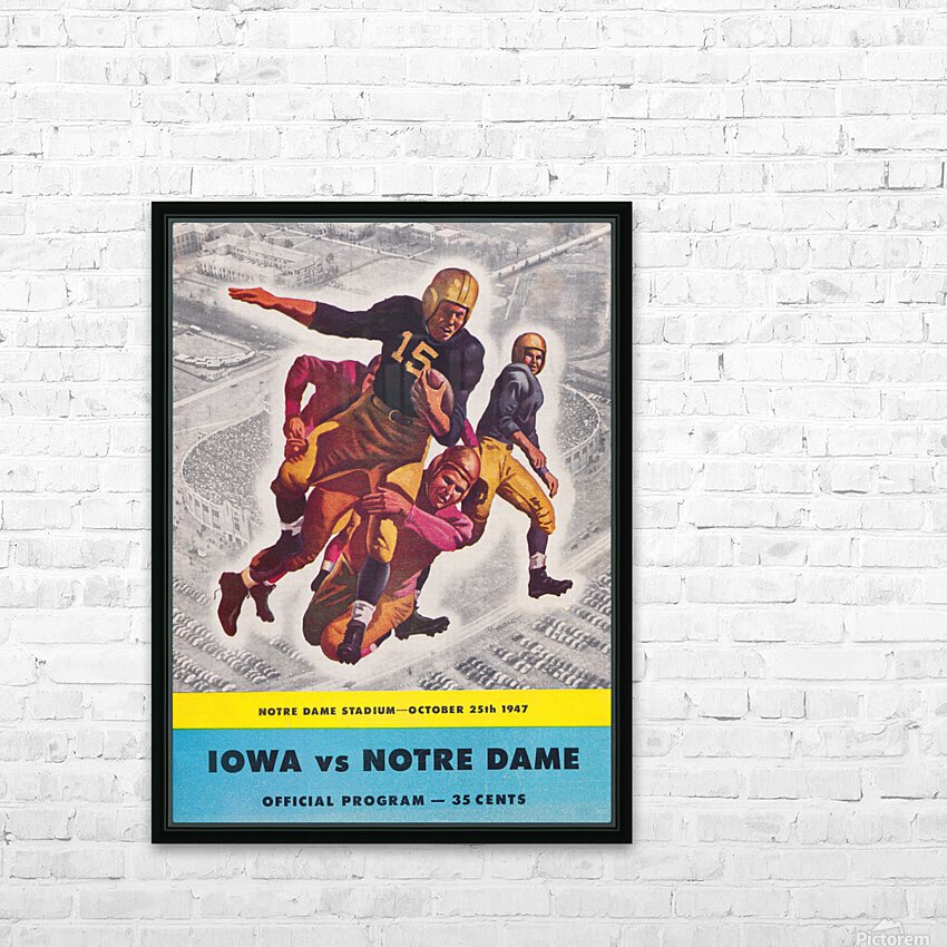 1947 Notre Dame vs. Iowa Football Program Cover Art HD Sublimation Metal print with Decorating Float Frame (BOX)