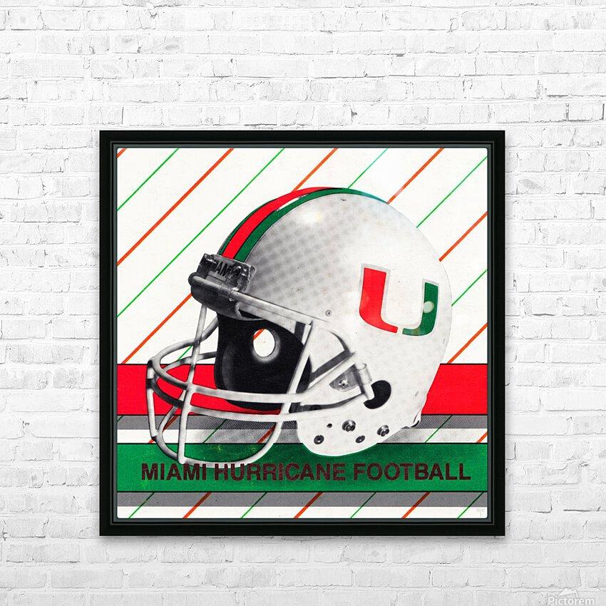 Retro Miami Hurricane Football Helmet Art HD Sublimation Metal print with Decorating Float Frame (BOX)