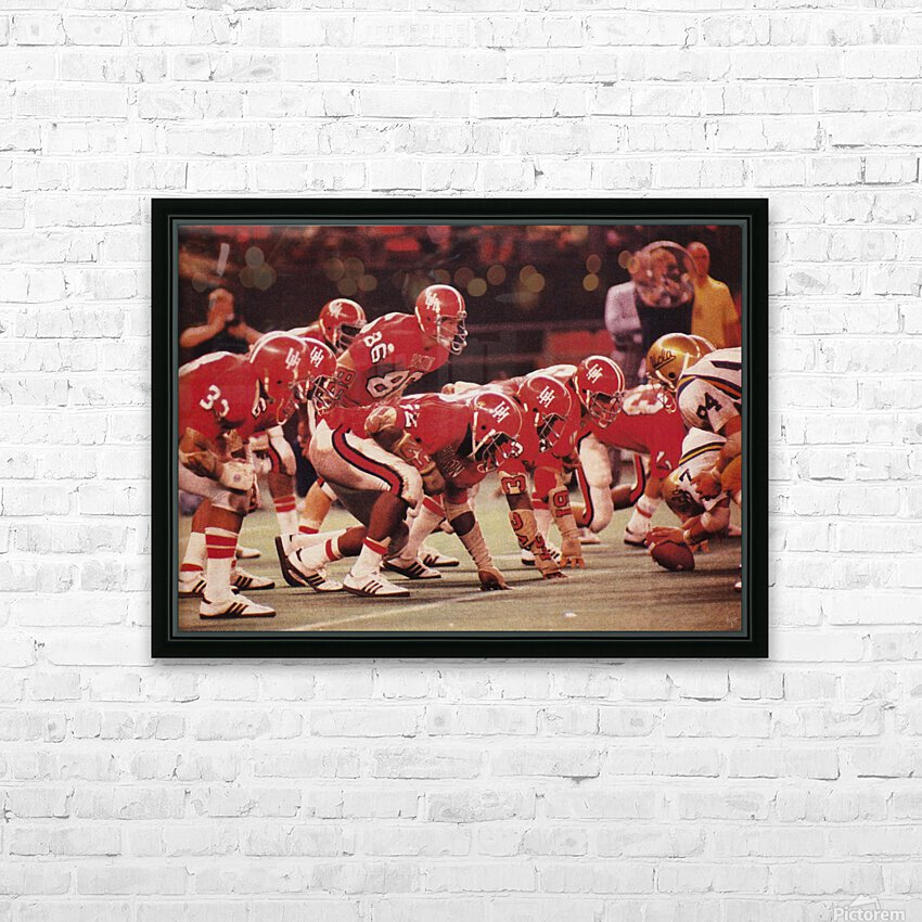 1977 UCLA vs. Houston Football Action HD Sublimation Metal print with Decorating Float Frame (BOX)
