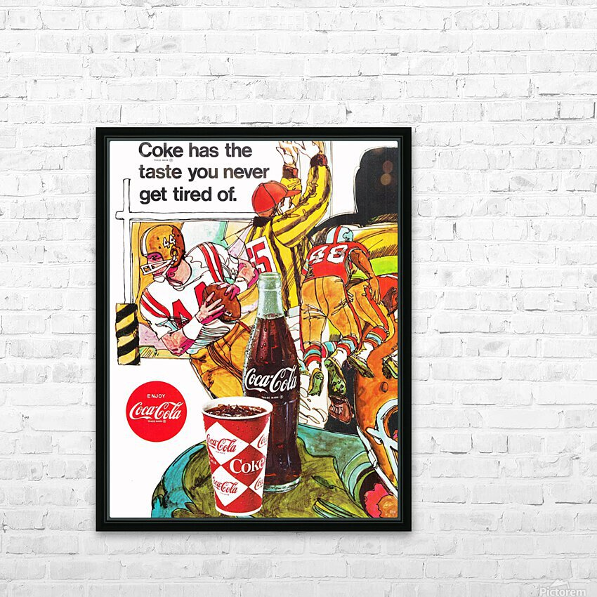 1969 Coke Football Ad Poster HD Sublimation Metal print with Decorating Float Frame (BOX)