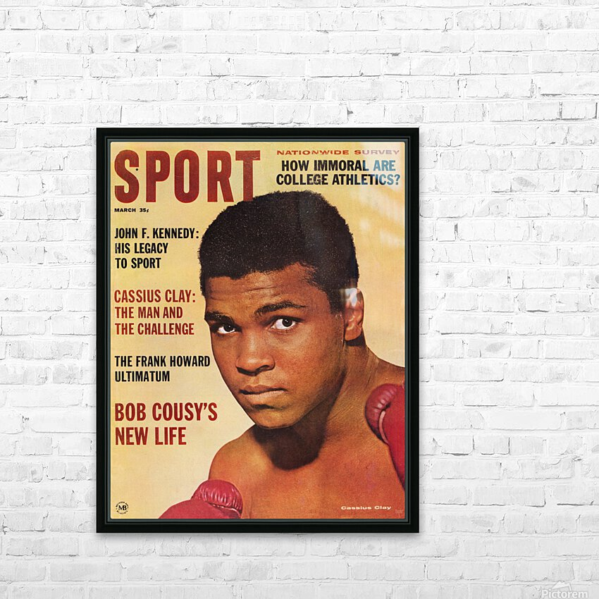 1964 Sport Magazine Muhammad Ali Cover HD Sublimation Metal print with Decorating Float Frame (BOX)