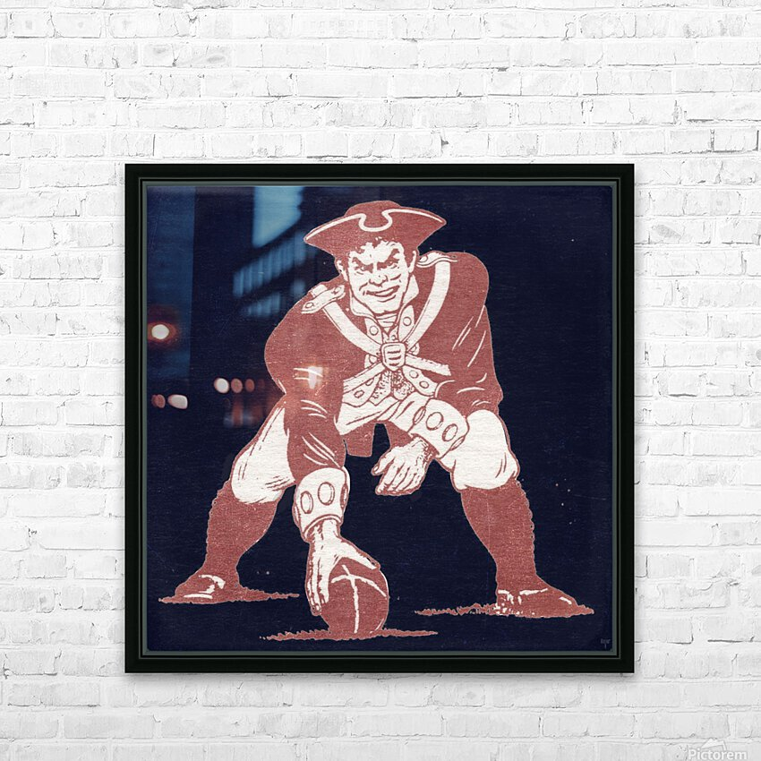 1976 New England Patriots Vintage Art HD Sublimation Metal print with Decorating Float Frame (BOX)