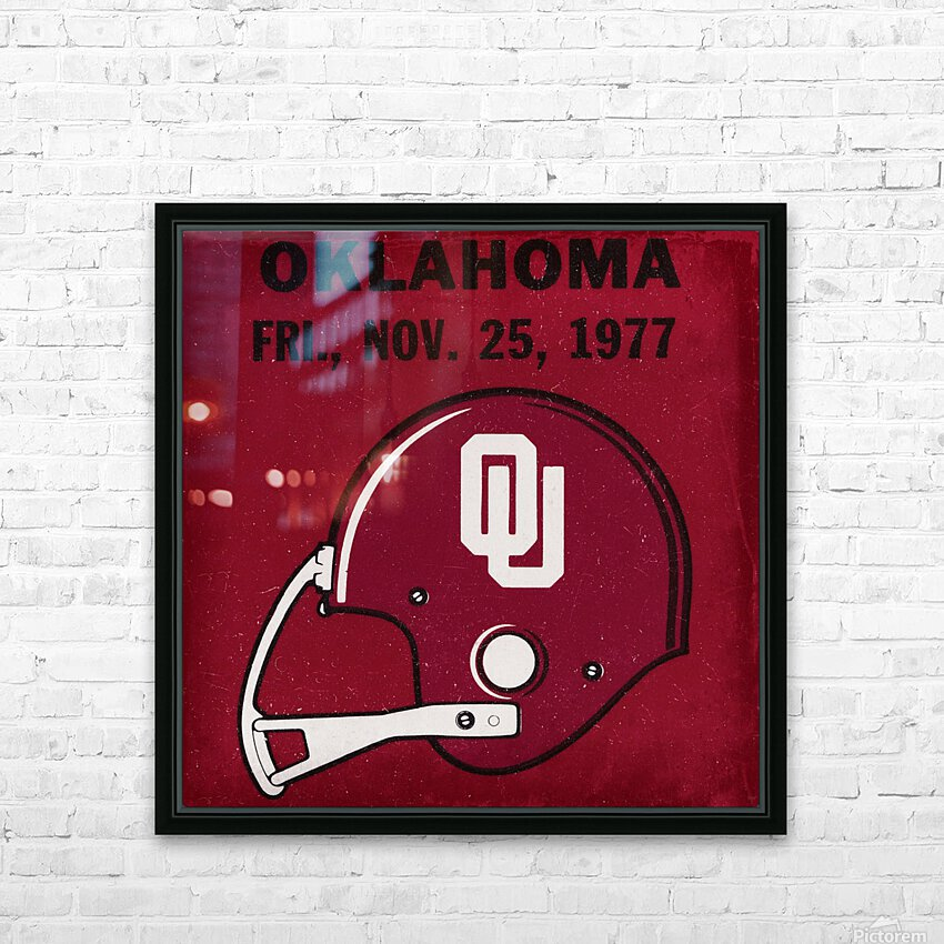 1977 Oklahoma Football Ticket Remix Row 1 HD Sublimation Metal print with Decorating Float Frame (BOX)
