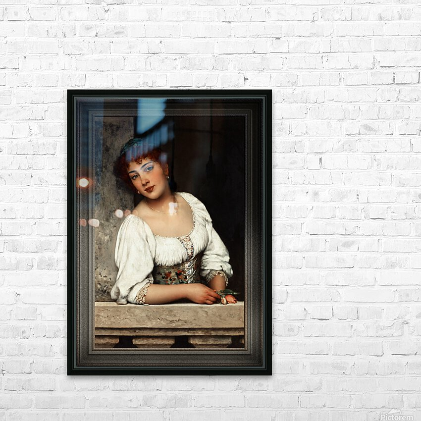 Girl At The Window by Eugen von Blaas Classical Art Xzendor7 Old Masters Reproductions HD Sublimation Metal print with Decorating Float Frame (BOX)