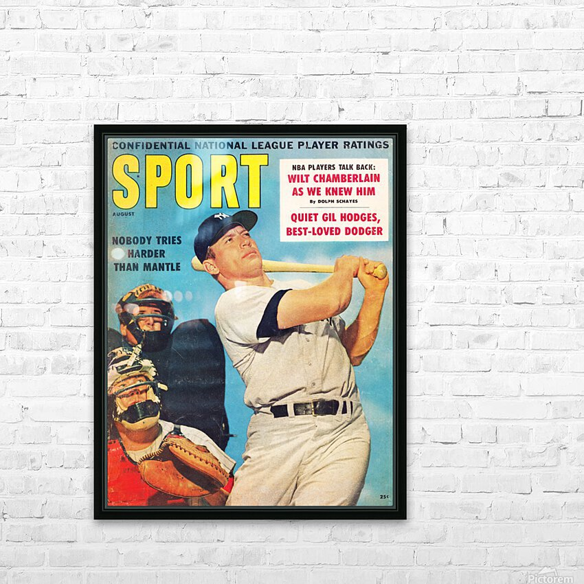 1960 Mickey Mantle Sport Cover Art HD Sublimation Metal print with Decorating Float Frame (BOX)