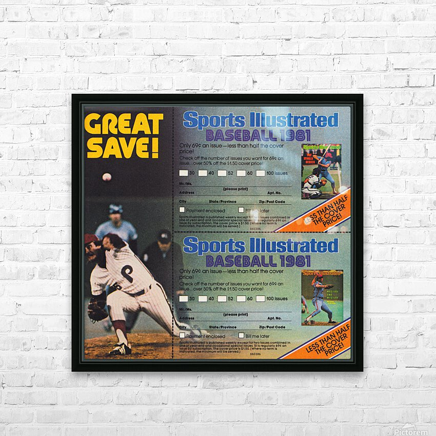 1981 Sports Illustrated Baseball Ad Poster HD Sublimation Metal print with Decorating Float Frame (BOX)