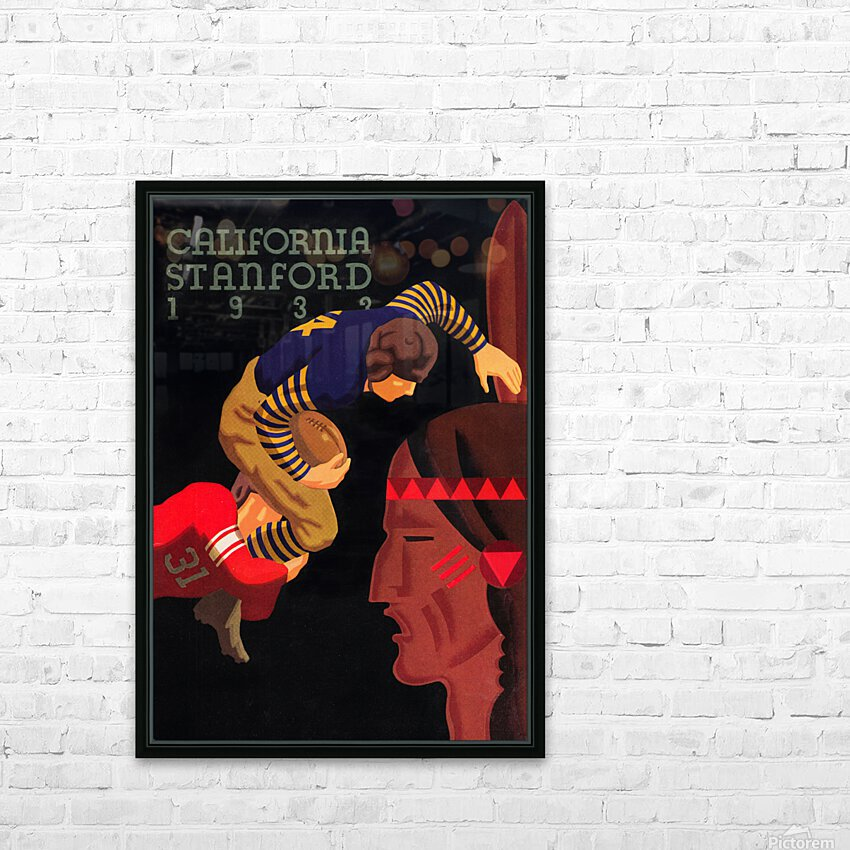 1933 Stanford vs. California Football Program Brushed Metal Art HD Sublimation Metal print with Decorating Float Frame (BOX)