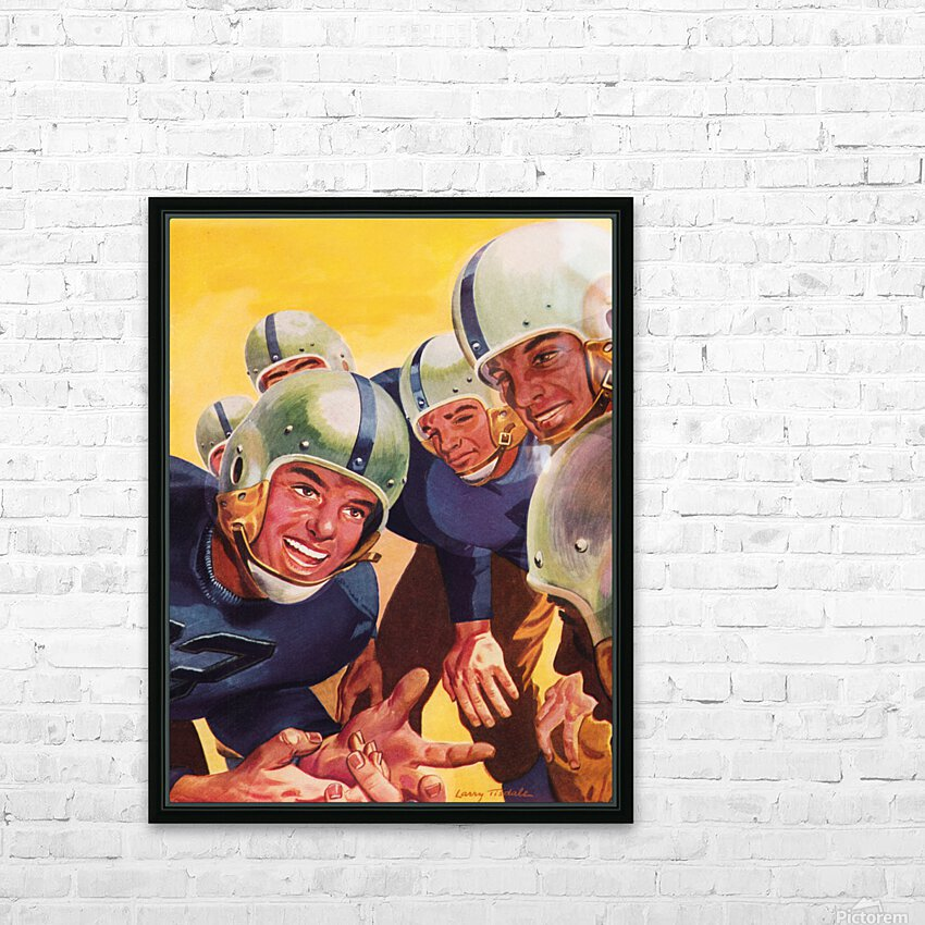 1947 Vintage Football Art Inside the Huddle HD Sublimation Metal print with Decorating Float Frame (BOX)
