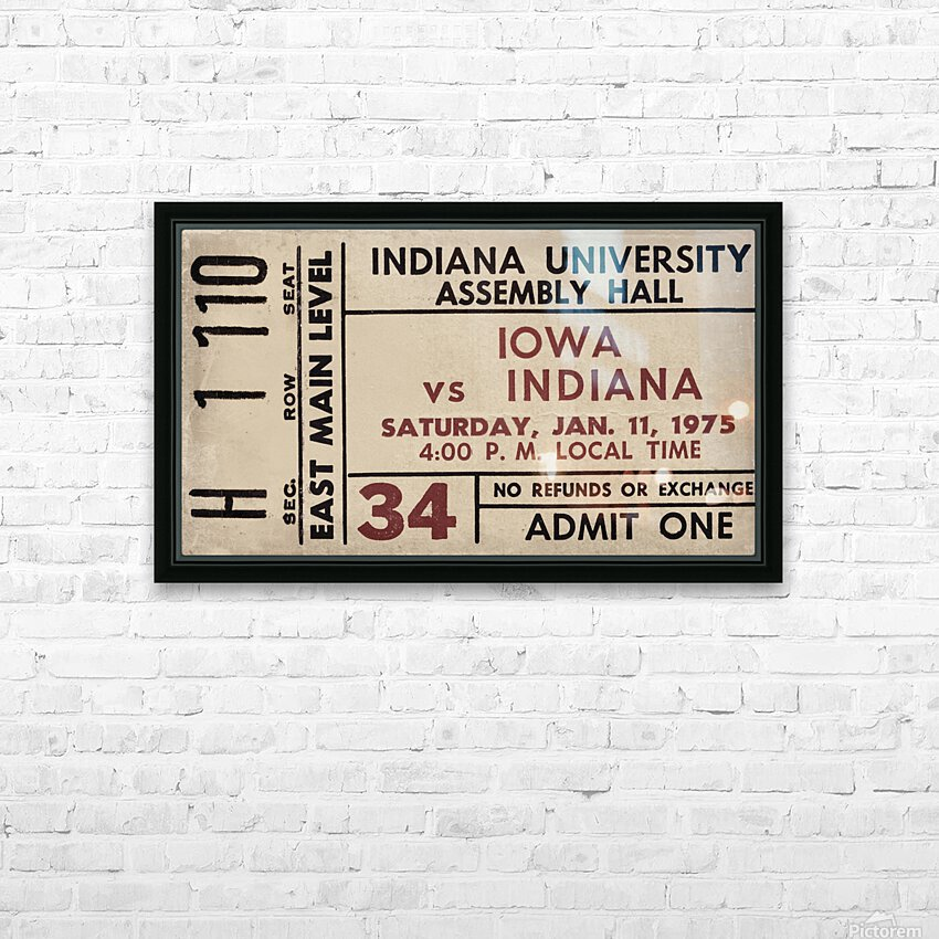 1975 Indiana vs. Iowa Basketball Ticket Metal Sign HD Sublimation Metal print with Decorating Float Frame (BOX)