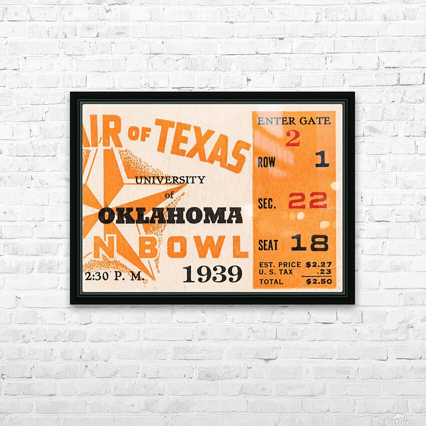 1939 Texas Longhorns vs. Oklahoma Sooners HD Sublimation Metal print with Decorating Float Frame (BOX)