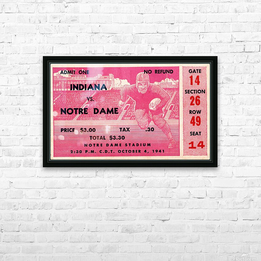 1941 Indiana vs. Notre Dame Football Ticket Canvas HD Sublimation Metal print with Decorating Float Frame (BOX)