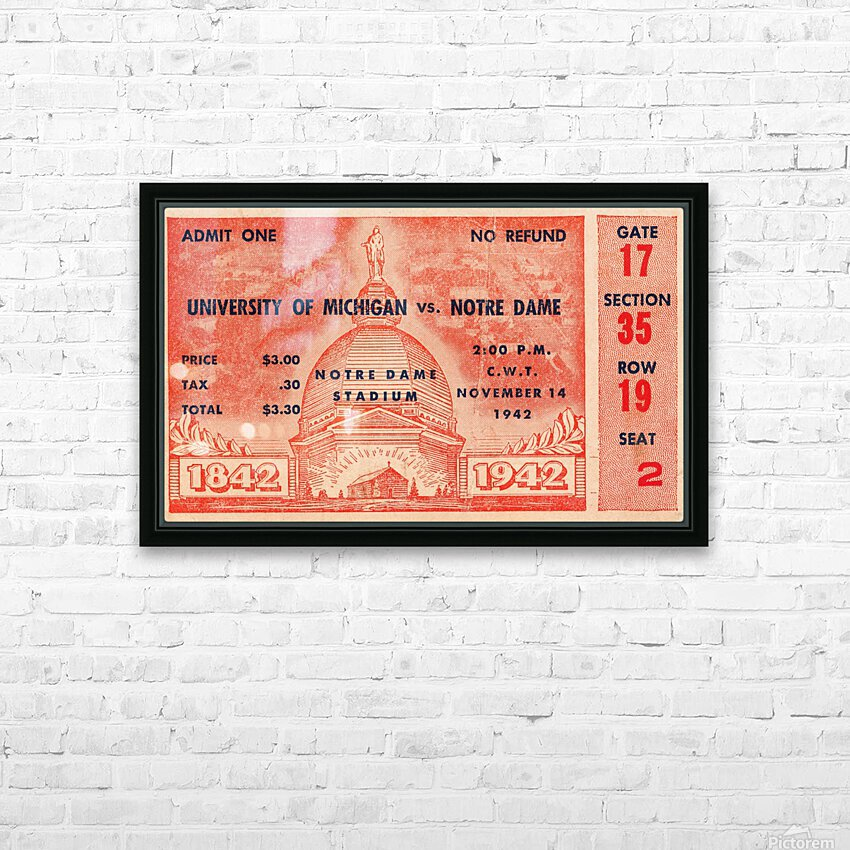 1942 Michigan vs. Notre Dame Football Ticket Stub Art HD Sublimation Metal print with Decorating Float Frame (BOX)