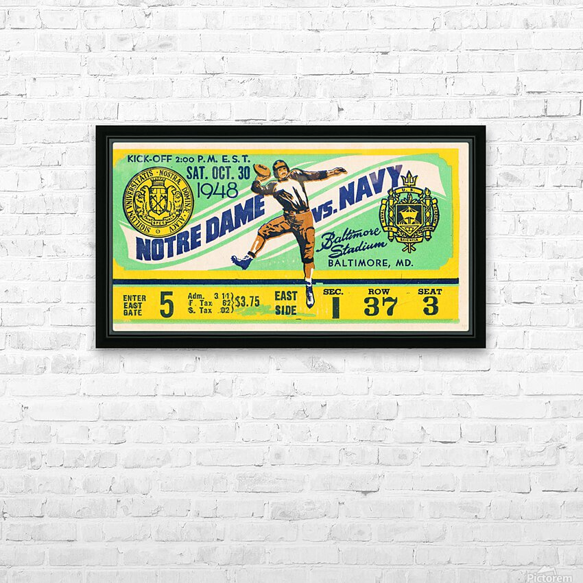 1948 Navy vs. Notre Dame Football Ticket Art HD Sublimation Metal print with Decorating Float Frame (BOX)