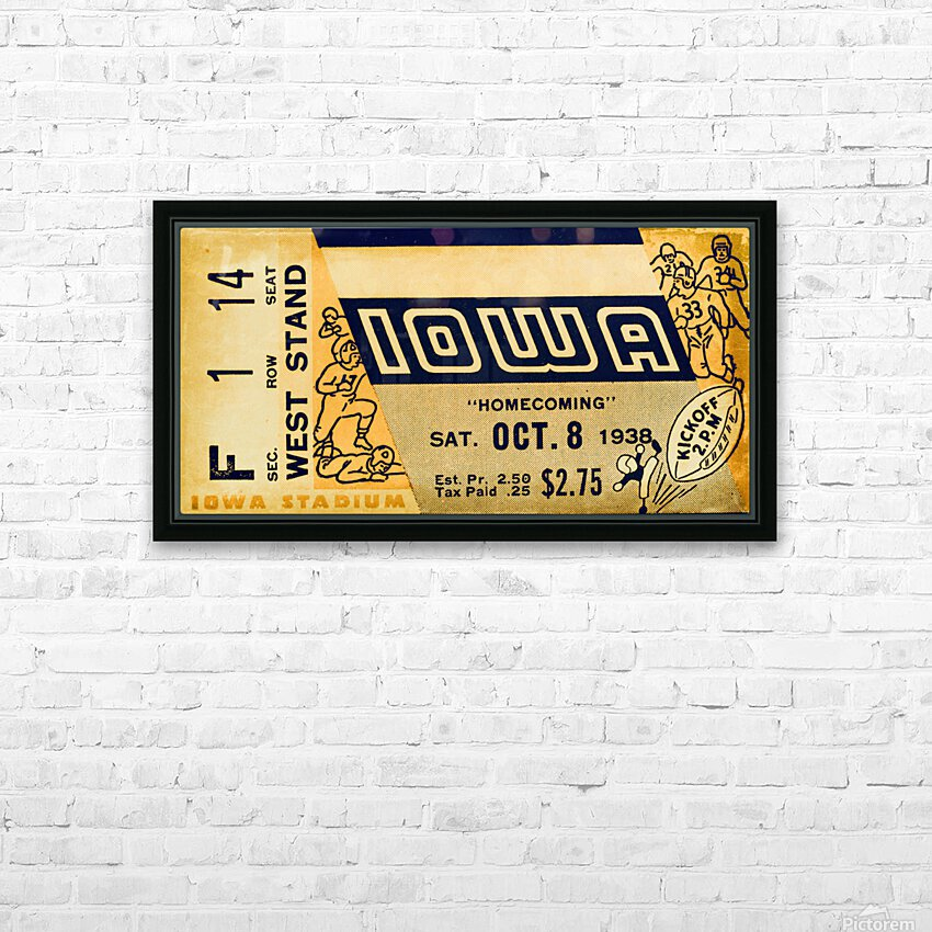 1938 Iowa Hawkeyes Football Ticket Remix Art HD Sublimation Metal print with Decorating Float Frame (BOX)