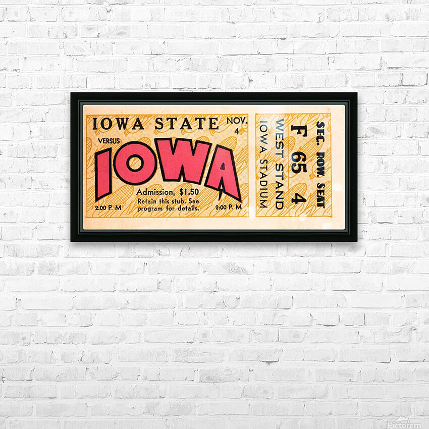 1933 Iowa State vs. Iowa Football Ticket Art HD Sublimation Metal print with Decorating Float Frame (BOX)