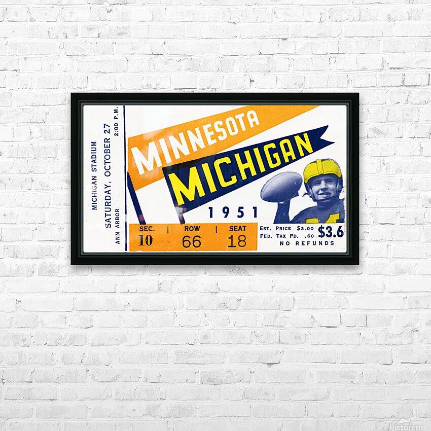 1951 Michigan vs. Minnesota Football Ticket Art HD Sublimation Metal print with Decorating Float Frame (BOX)